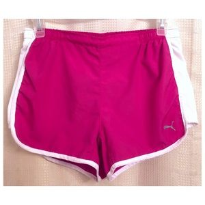 PUMA Pink & White Ladies Running Shorts